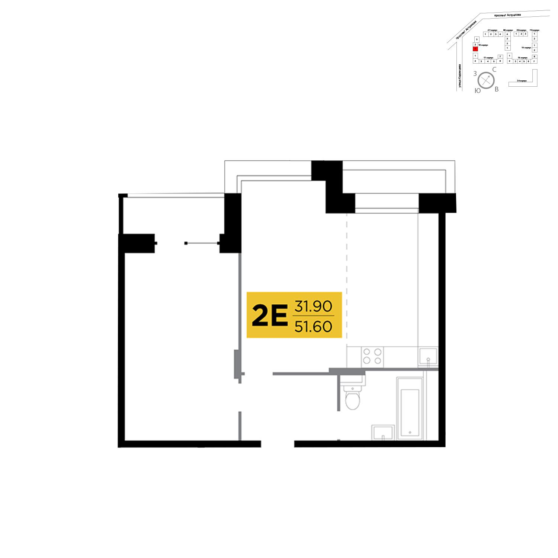 Продаётся 2-комнатная квартира в новостройке 51.6 кв.м. этаж 7/17 за 6 130 080 руб