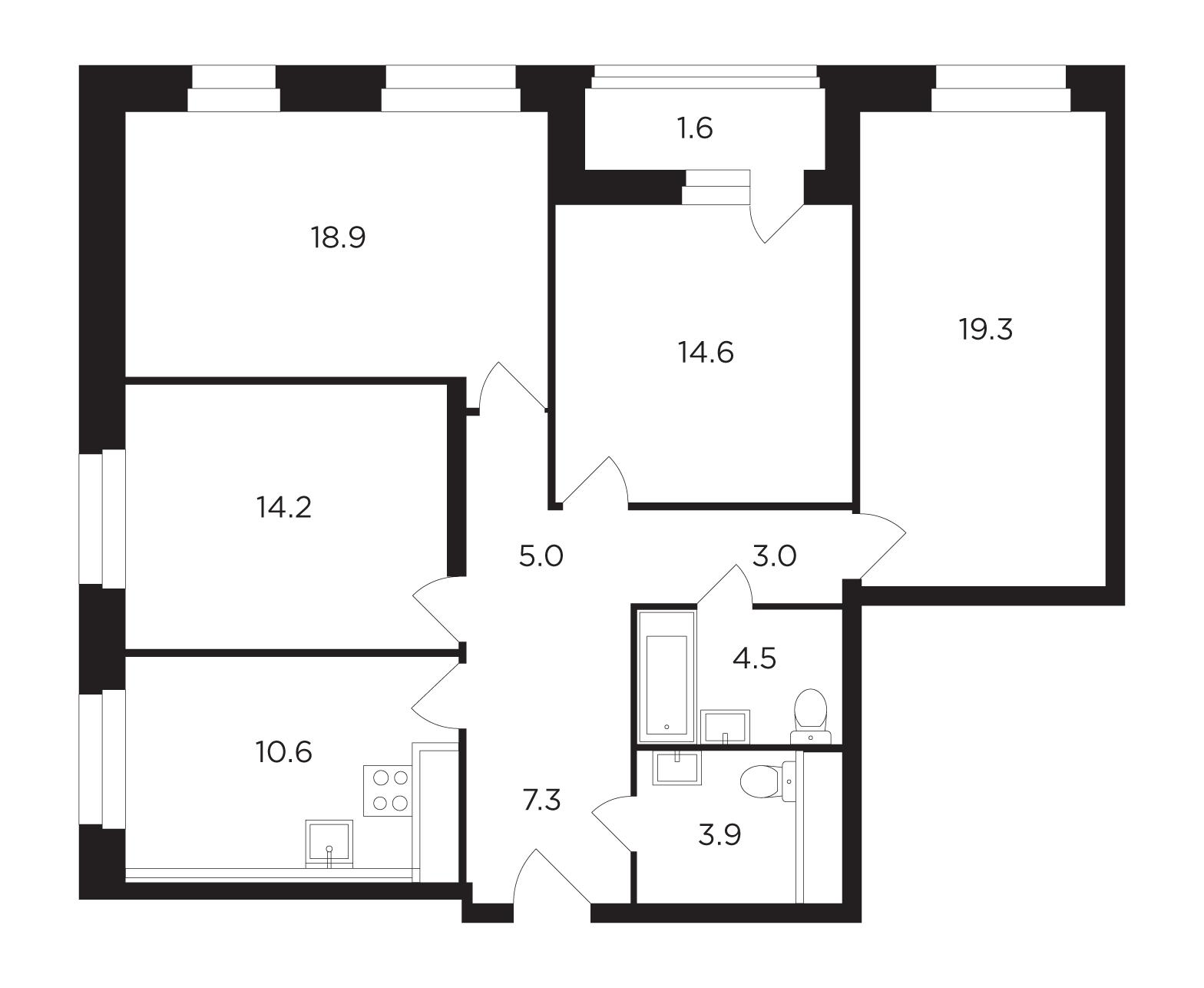 Продаётся 4-комнатная квартира в новостройке 102.7 кв.м. этаж 9/17 за 21 715 200 руб