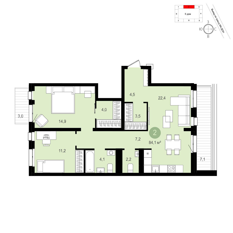 Продаётся 2-комнатная квартира в новостройке 84.1 кв.м. этаж 5/13 за 7 780 000 руб