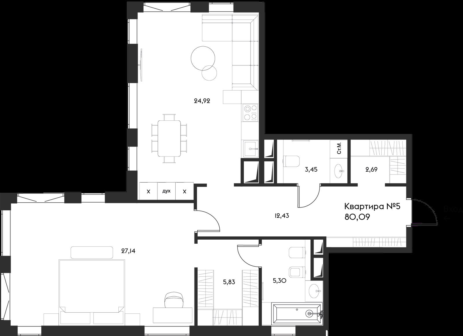 Продаётся 2-комнатная квартира в новостройке 80.1 кв.м. этаж 4/17 за 43 788 369 руб