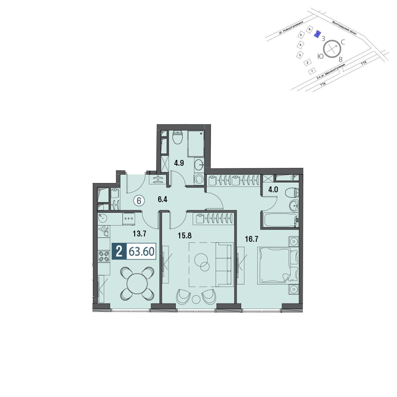 Продаётся 2-комнатная квартира в новостройке 64.2 кв.м. этаж 18/30 за 18 949 978 руб