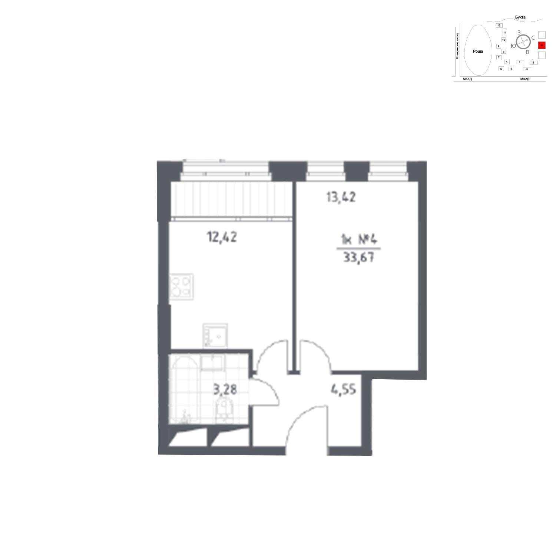 Продаётся 1-комнатная квартира в новостройке 33.7 кв.м. этаж 13/31 за 5 468 345 руб