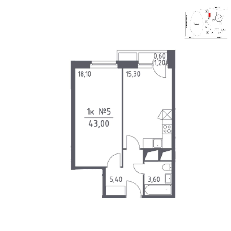 Продаётся 1-комнатная квартира в новостройке 43.0 кв.м. этаж 17/33 за 0 руб