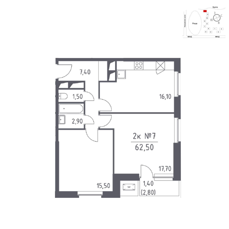 Продаётся 2-комнатная квартира в новостройке 62.5 кв.м. этаж 12/32 за 0 руб