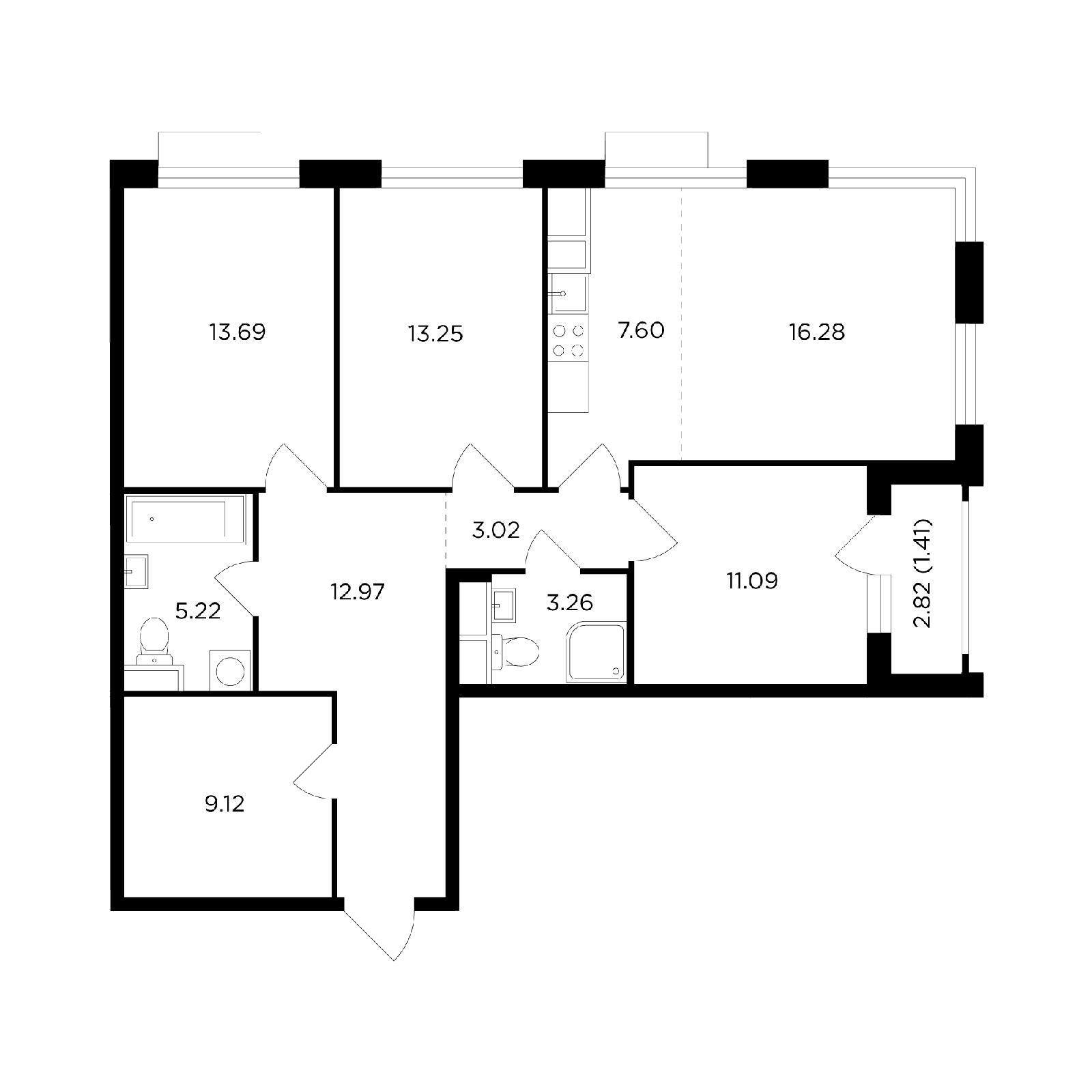 Продаётся 4-комнатная квартира в новостройке 96.9 кв.м. этаж 21/26 за 33 521 653 руб