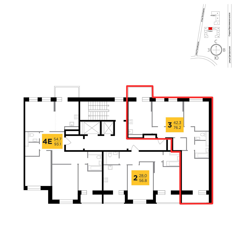 Продаётся 3-комнатная квартира в новостройке 76.2 кв.м. этаж 14/16 за 8 871 879 руб