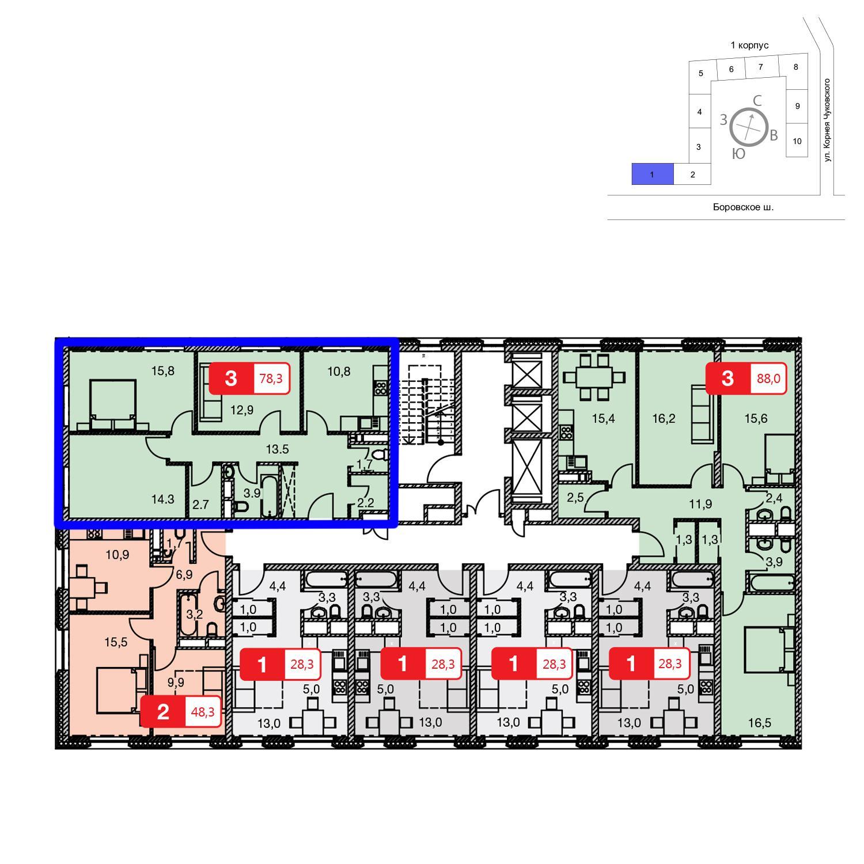 Продаётся 3-комнатная квартира в новостройке 78.3 кв.м. этаж 22/23 за 0 руб