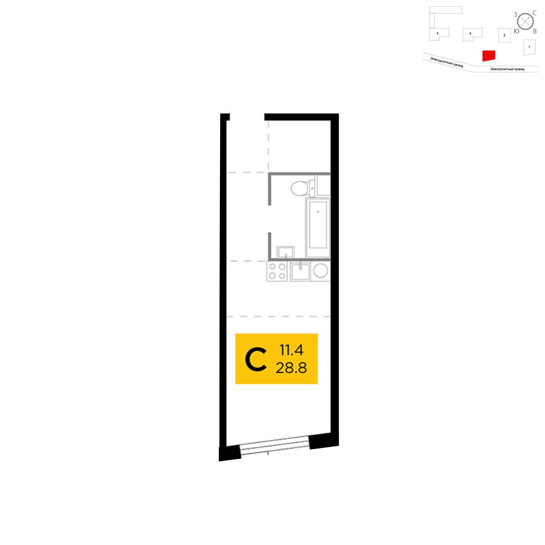 Продаётся  квартира-студия 28.8 кв.м. этаж 2/26 за 8 789 215 руб
