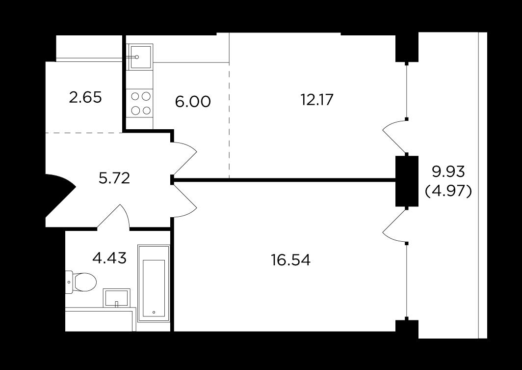 Продаётся 2-комнатная квартира в новостройке 52.5 кв.м. этаж 4/29 за 17 361 538 руб