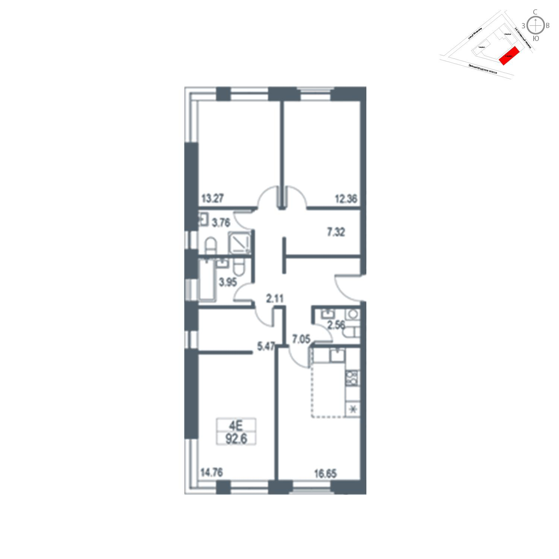 Продаётся  квартира-студия 92.6 кв.м. этаж 17/21 за 19 849 800 руб