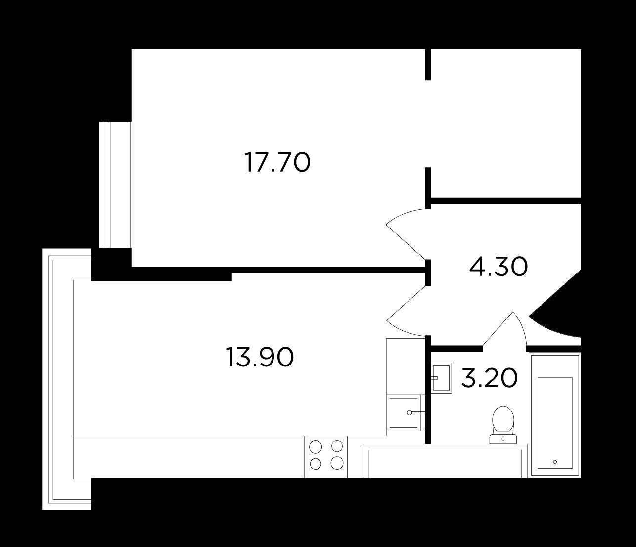 Продаётся 1-комнатная квартира в новостройке 39.1 кв.м. этаж 19/25 за 7 442 802 руб