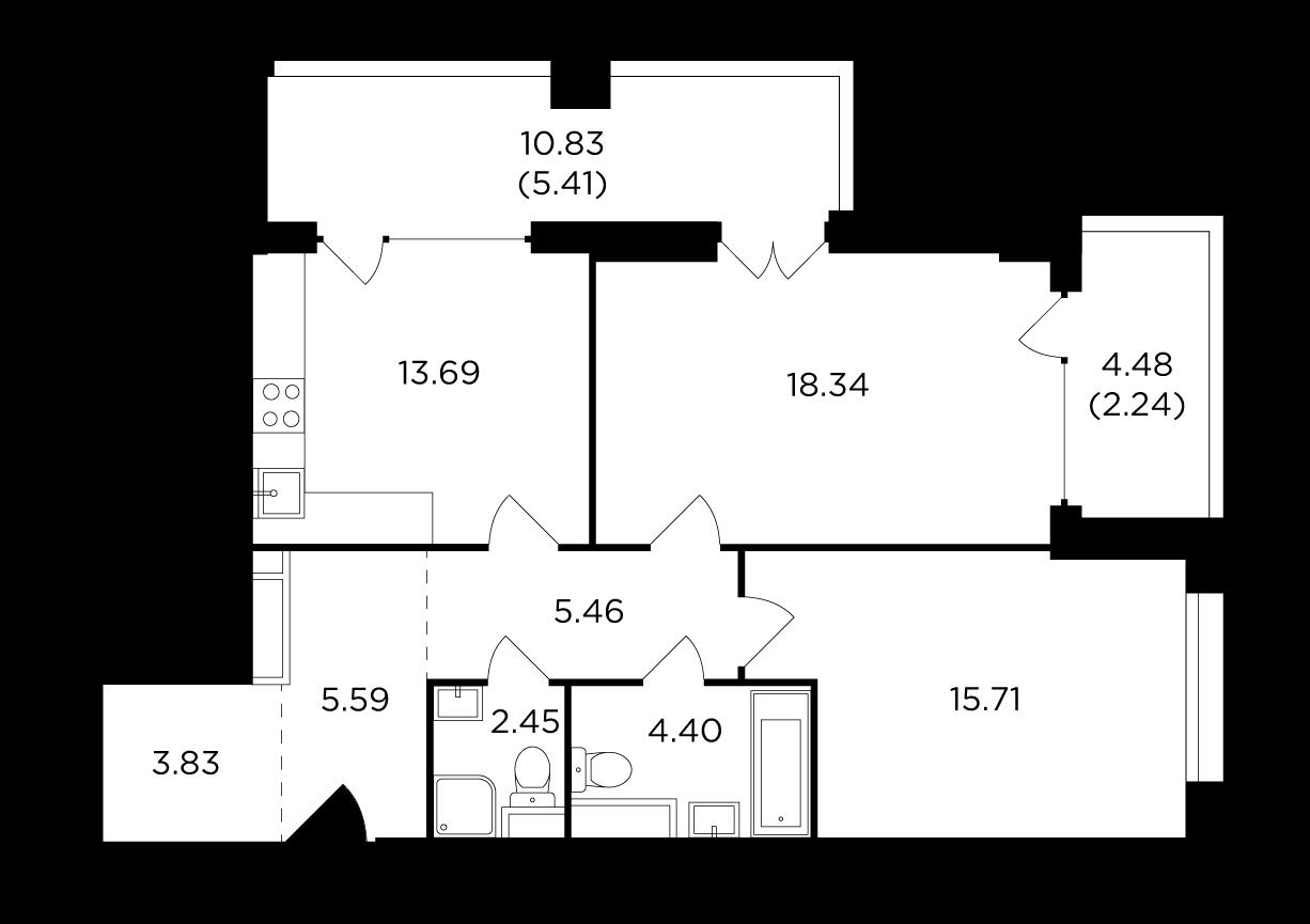 Продаётся 2-комнатная квартира в новостройке 77.1 кв.м. этаж 4/29 за 30 251 159 руб