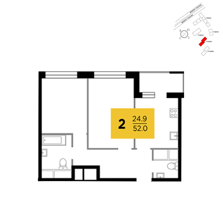 Продаётся 2-комнатная квартира в новостройке 52.0 кв.м. этаж 14/24 за 4 391 724 руб