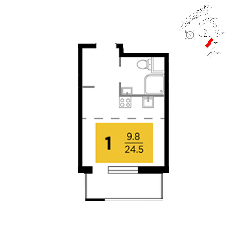 Продаётся 1-комнатная квартира в новостройке 24.5 кв.м. этаж 2/24 за 2 322 999 руб