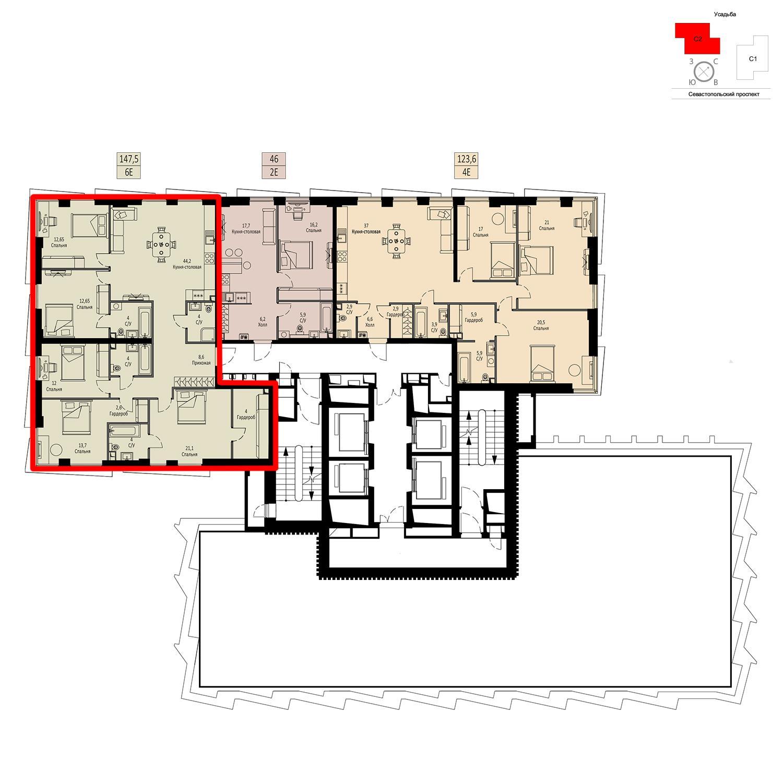 Продаётся  квартира-студия 147.5 кв.м. этаж 40/42 за 50 371 250 руб