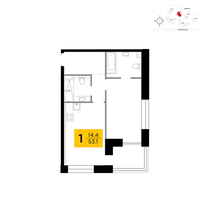 Продаётся 1-комнатная квартира в новостройке 53.1 кв.м. этаж 6/19 за 23 920 000 руб