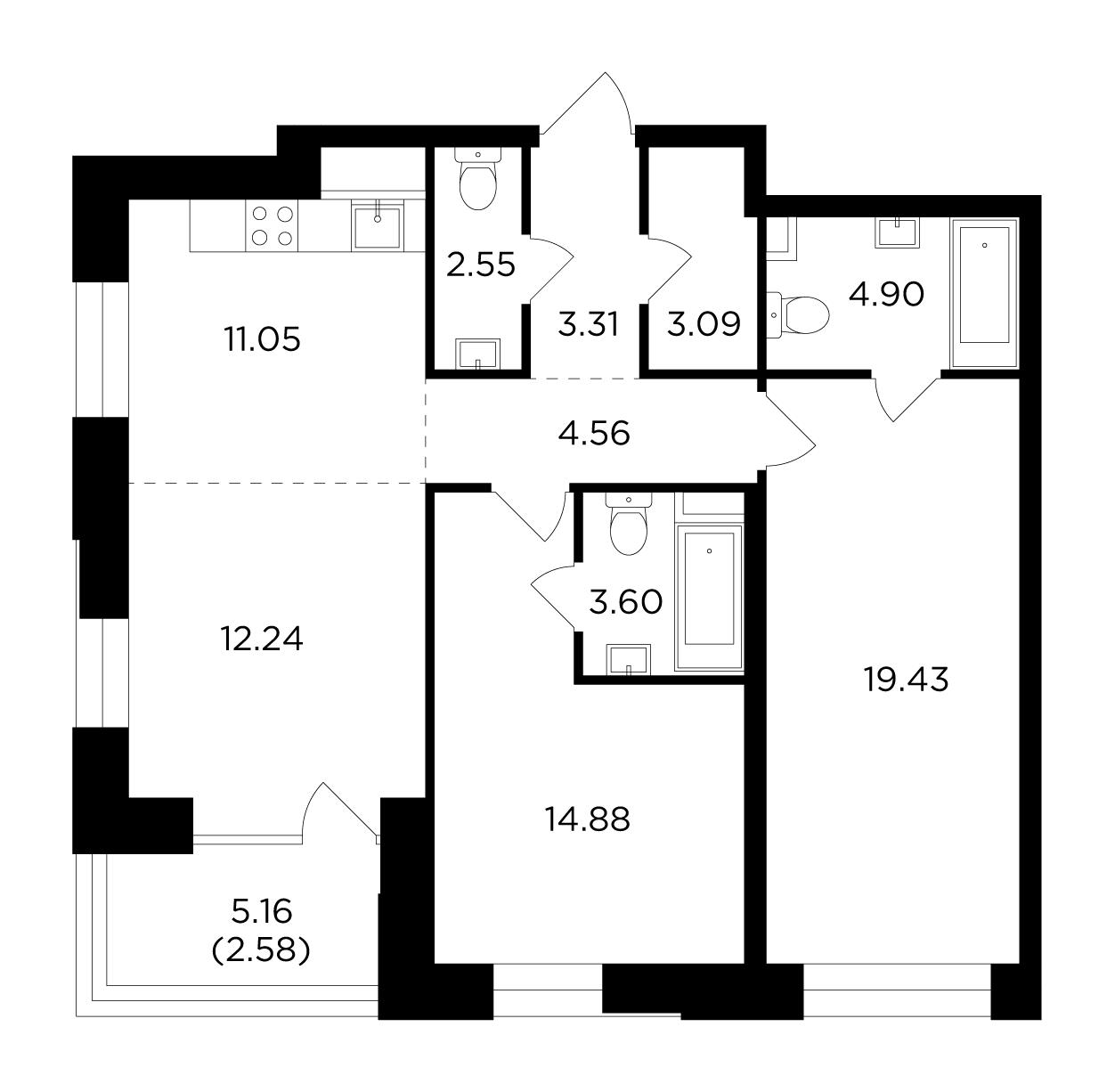 Продаётся 3-комнатная квартира в новостройке 82.2 кв.м. этаж 6/19 за 30 230 139 руб