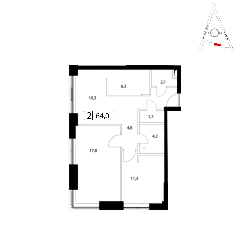 Продаётся 2-комнатная квартира в новостройке 63.8 кв.м. этаж 7/36 за 13 908 400 руб