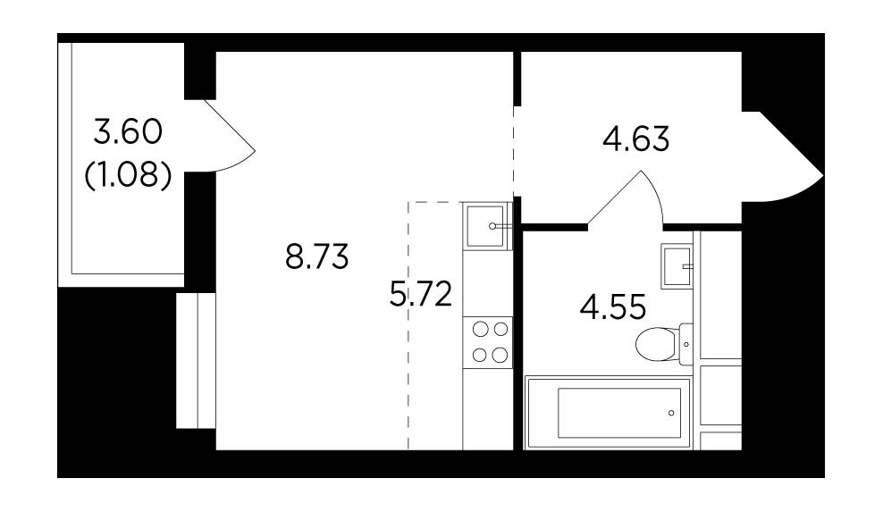 Продаётся  квартира-студия 24.7 кв.м. этаж 11/25 за 5 547 222 руб