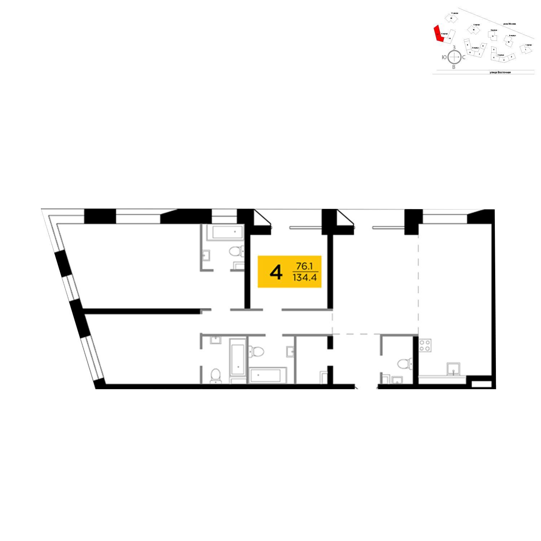 Продаётся 4-комнатная квартира в новостройке 136.3 кв.м. этаж 8/16 за 44 205 353 руб