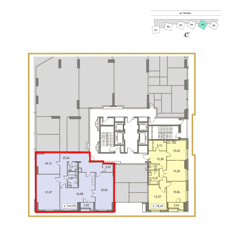 Продаётся 2-комнатная квартира в новостройке 148.6 кв.м. этаж 2/31 за 23 457 210 руб