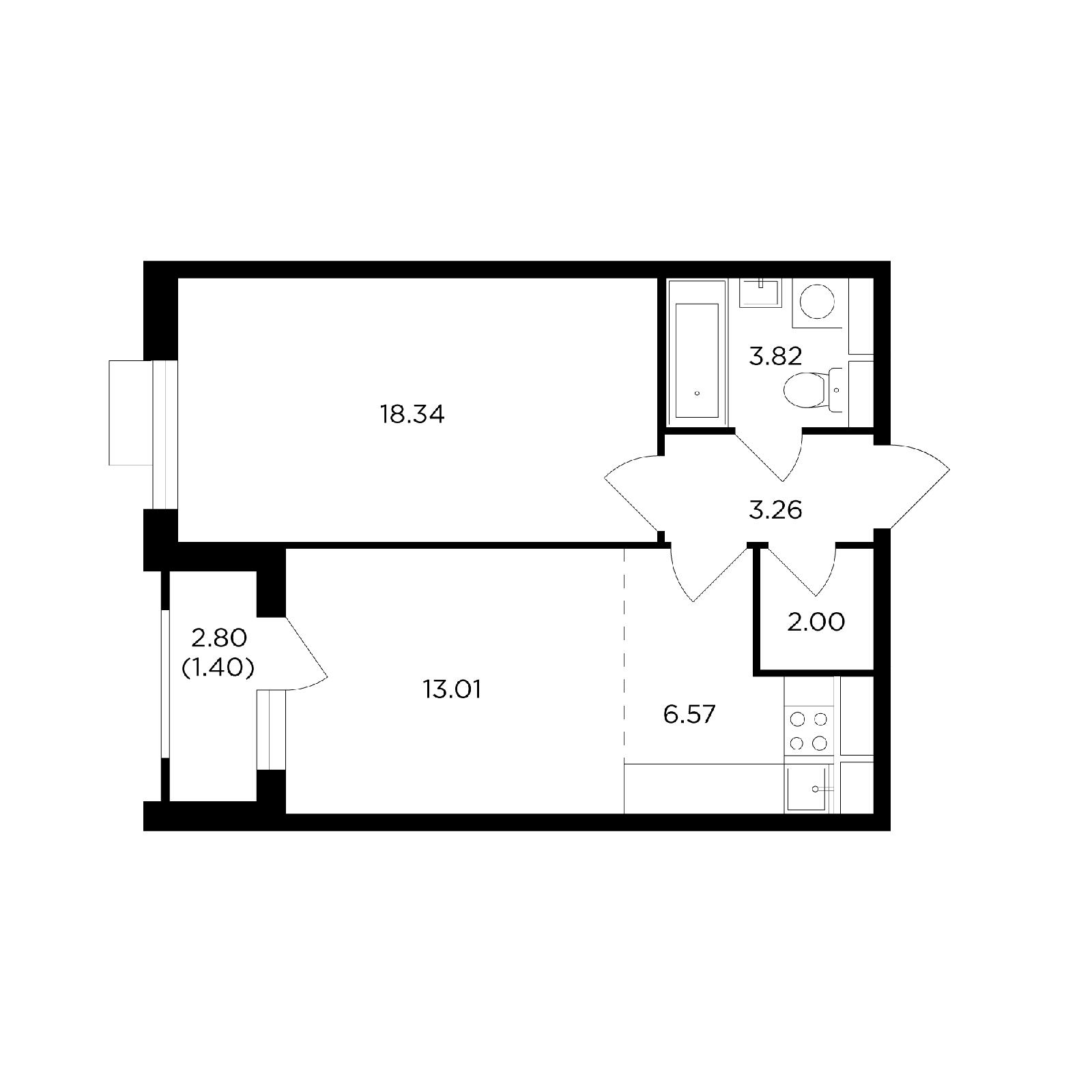 Продаётся 2-комнатная квартира в новостройке 48.0 кв.м. этаж 7/27 за 15 911 378 руб
