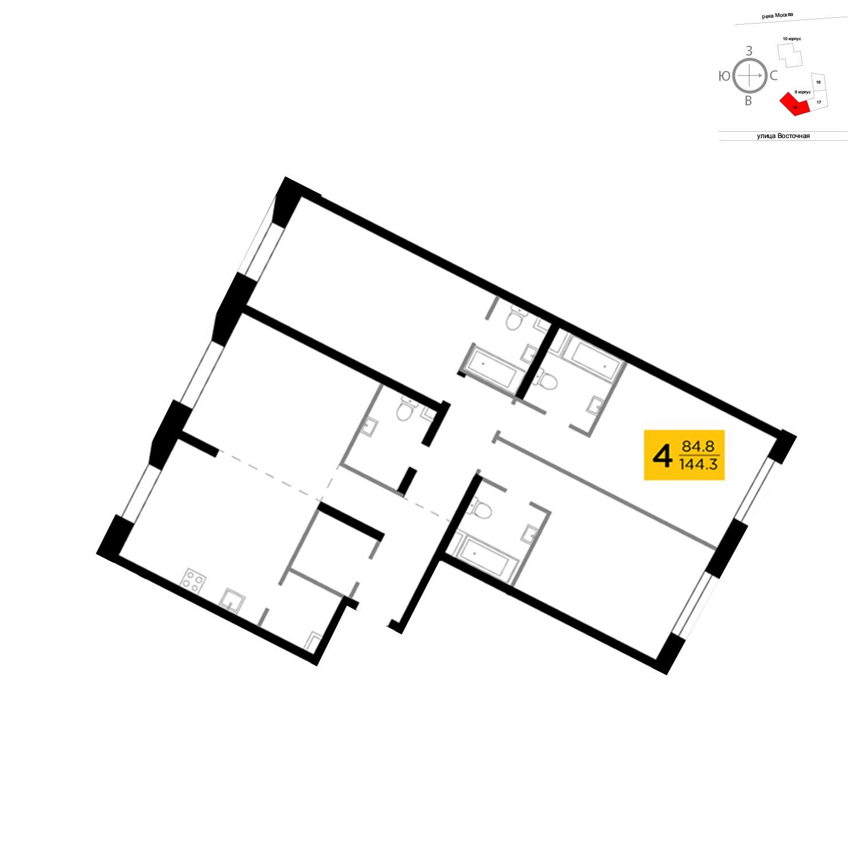 Продаётся 4-комнатная квартира в новостройке 144.3 кв.м. этаж 5/16 за 44 163 984 руб