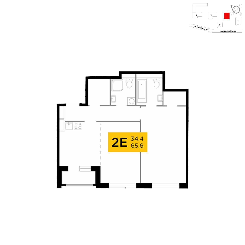 Продаётся 2-комнатная квартира в новостройке 65.6 кв.м. этаж 8/26 за 22 237 391 руб