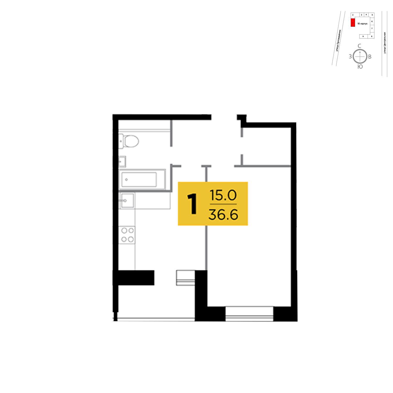 Продаётся 1-комнатная квартира в новостройке 36.6 кв.м. этаж 5/16 за 2 737 497 руб