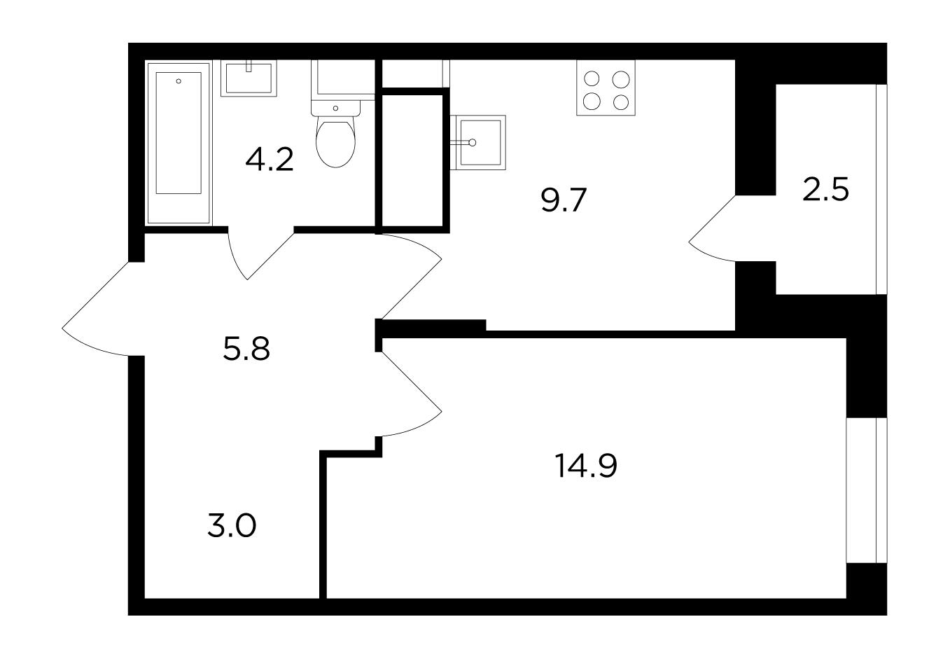 Продаётся 1-комнатная квартира в новостройке 38.8 кв.м. этаж 17/17 за 6 205 034 руб