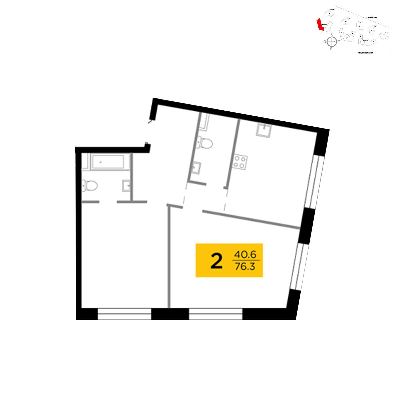 Продаётся 2-комнатная квартира в новостройке 61.7 кв.м. этаж 12/16 за 24 227 779 руб