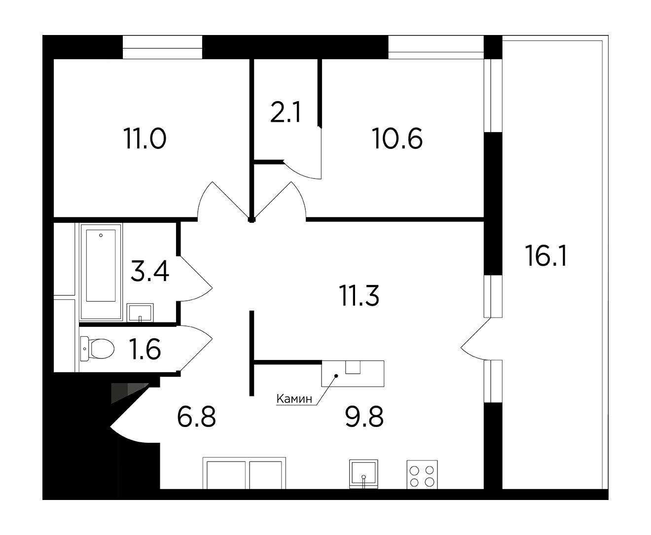 Продаётся 3-комнатная квартира в новостройке 64.7 кв.м. этаж 14/15 за 17 077 554 руб