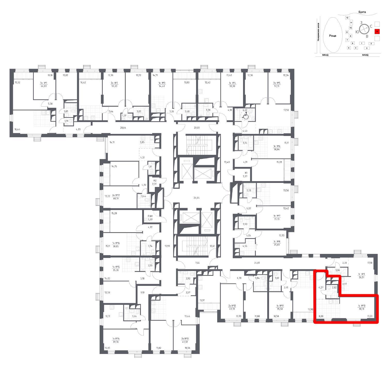 Продаётся 1-комнатная квартира в новостройке 28.2 кв.м. этаж 16/31 за 4 621 802 руб