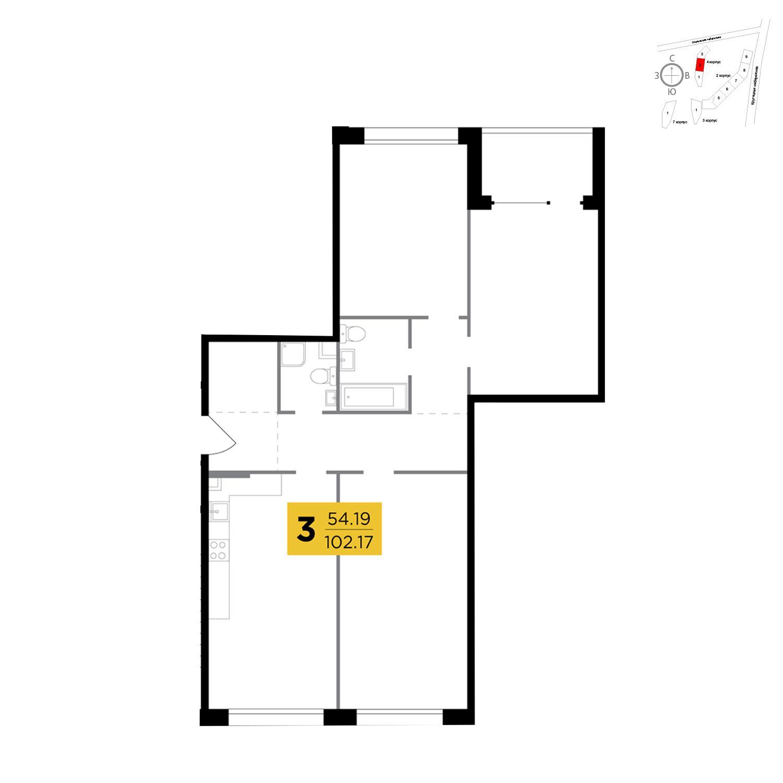 Продаётся 3-комнатная квартира в новостройке 102.2 кв.м. этаж 2/29 за 31 296 609 руб