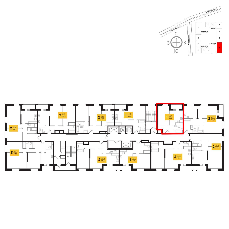 Продаётся 1-комнатная квартира в новостройке 38.2 кв.м. этаж 19/23 за 9 246 005 руб