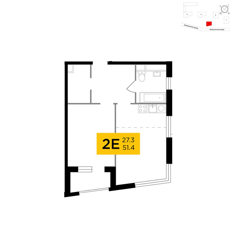Продаётся 2-комнатная квартира в новостройке 50.8 кв.м. этаж 4/26 за 16 593 411 руб