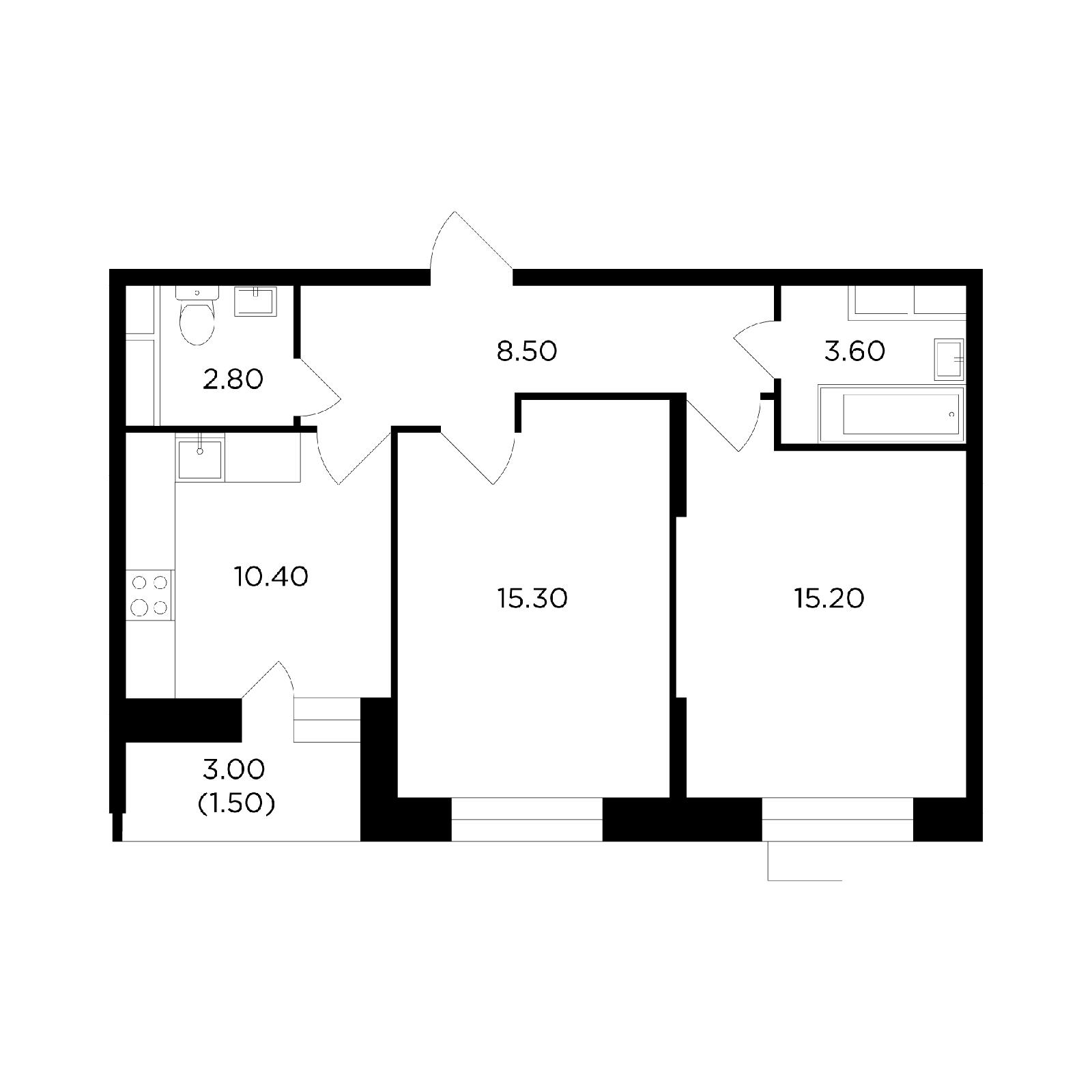 Продаётся 2-комнатная квартира в новостройке 57.3 кв.м. этаж 2/14 за 5 613 938 руб