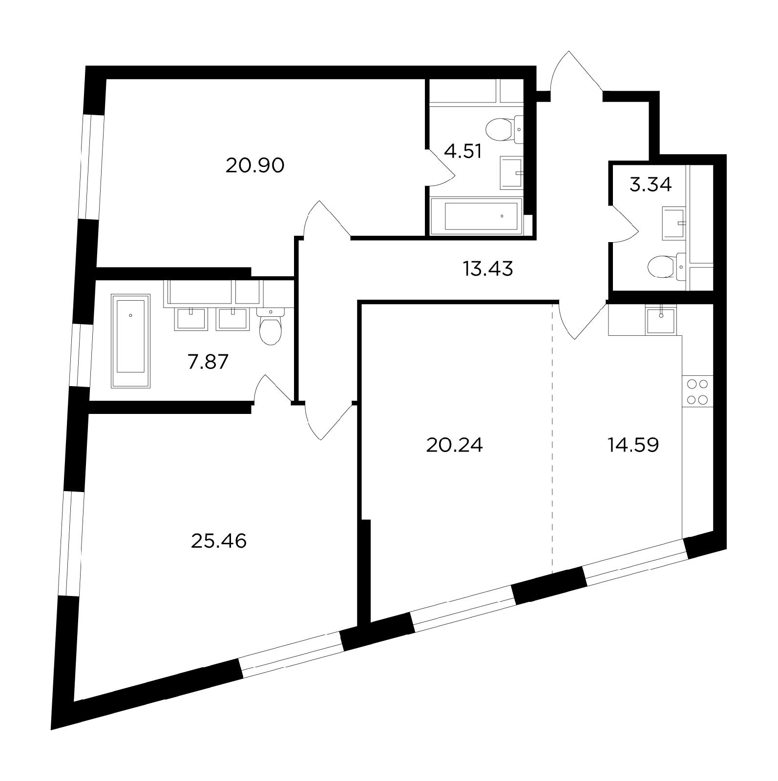 Продаётся 3-комнатная квартира в новостройке 110.3 кв.м. этаж 15/29 за 27 838 925 руб