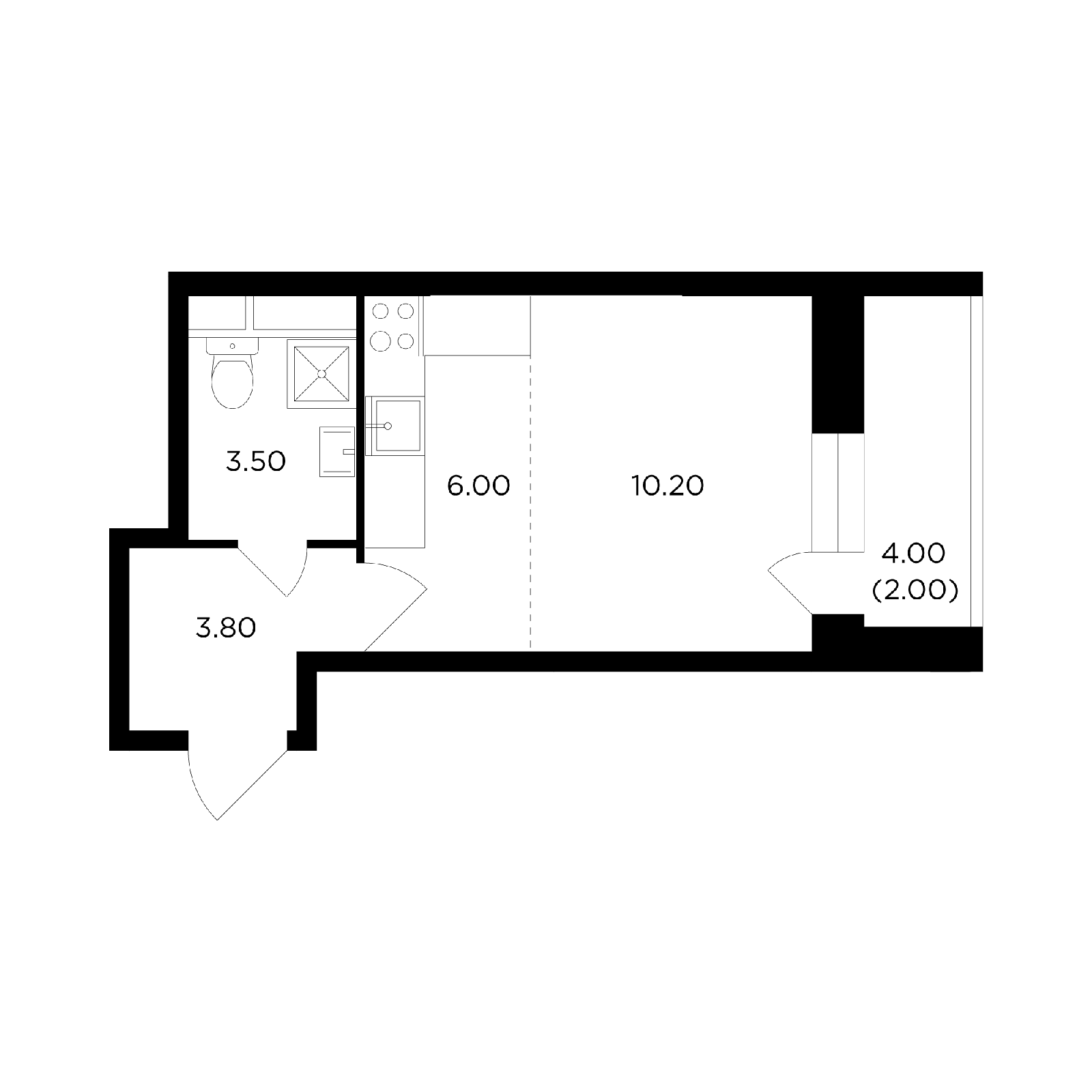 Продаётся  квартира-студия 25.5 кв.м. этаж 7/14 за 4 757 414 руб