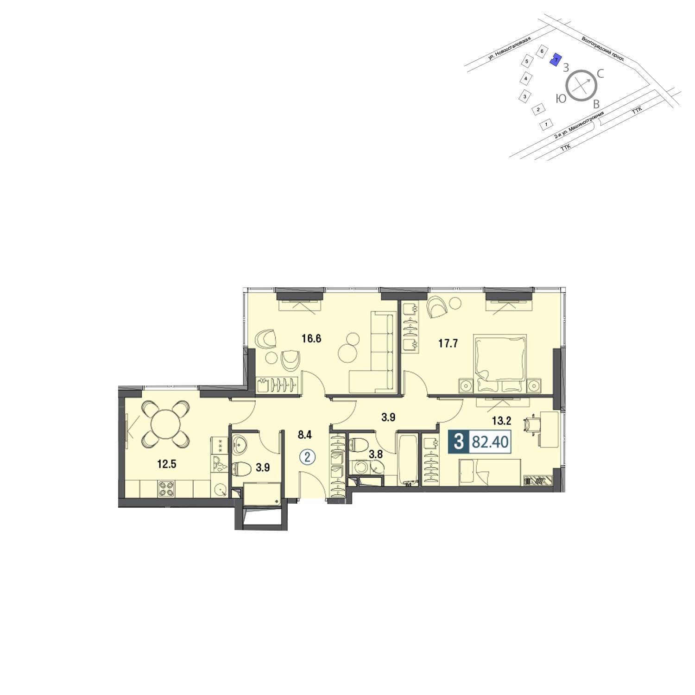 Продаётся 3-комнатная квартира в новостройке 84.7 кв.м. этаж 27/30 за 22 869 000 руб