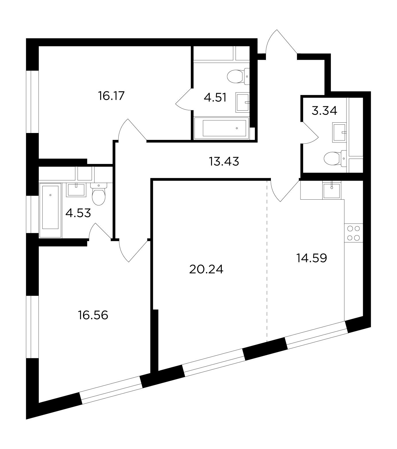 Продаётся 3-комнатная квартира в новостройке 93.3 кв.м. этаж 3/29 за 25 494 738 руб