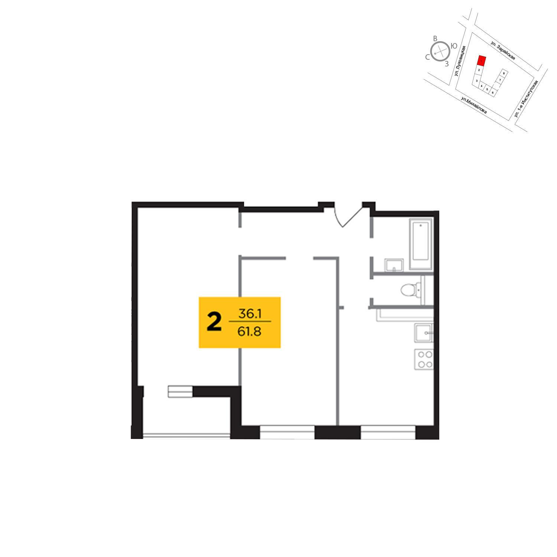 Продаётся 2-комнатная квартира в новостройке 61.8 кв.м. этаж 18/19 за 11 872 420 руб