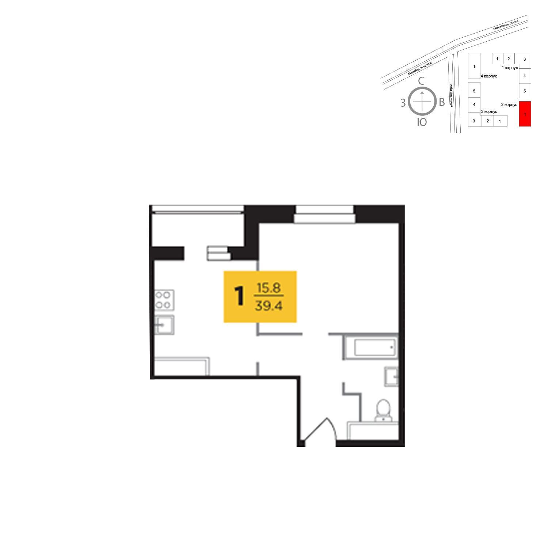 Продаётся 1-комнатная квартира в новостройке 39.4 кв.м. этаж 14/23 за 9 648 723 руб