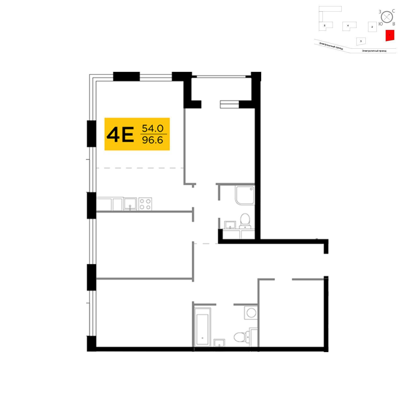 Продаётся 4-комнатная квартира в новостройке 96.6 кв.м. этаж 4/26 за 31 570 181 руб