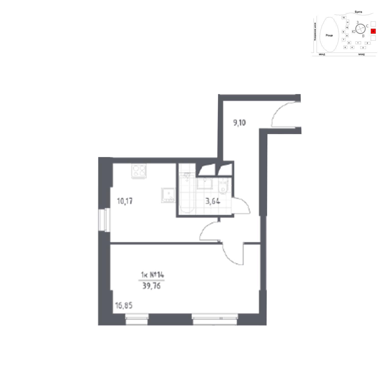 Продаётся 1-комнатная квартира в новостройке 39.8 кв.м. этаж 16/31 за 6 316 790 руб