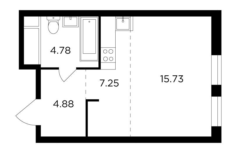 Продаётся  квартира-студия 32.6 кв.м. этаж 19/30 за 11 487 924 руб