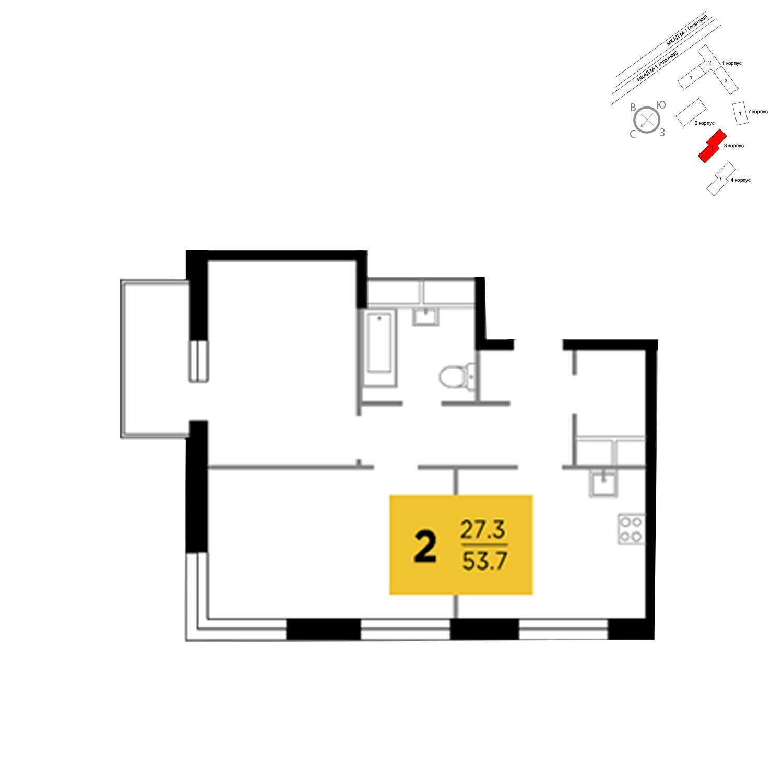Продаётся 2-комнатная квартира в новостройке 53.7 кв.м. этаж 13/24 за 4 855 256 руб
