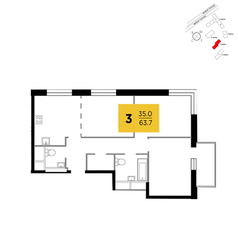Продаётся 3-комнатная квартира в новостройке 63.7 кв.м. этаж 17/24 за 5 302 373 руб