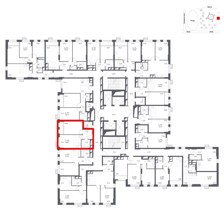 Продаётся 1-комнатная квартира в новостройке 38.9 кв.м. этаж 16/31 за 6 194 749 руб