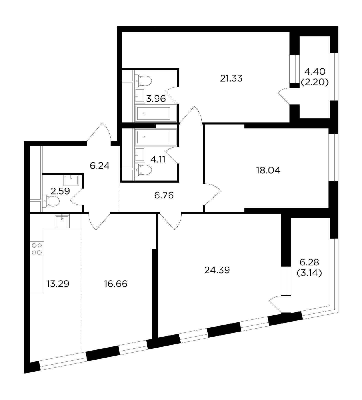 Продаётся 4-комнатная квартира в новостройке 122.7 кв.м. этаж 26/29 за 34 322 842 руб